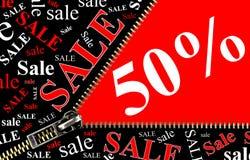 Conceito da abertura do cartaz e do zipper da venda de 50% Imagem de Stock Royalty Free