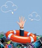 Conceito da ajuda O homem está afogando-se na enorme quantidade de vários dispositivos ilustração stock