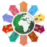 Conceito da aldeia global - dez casas pequenas em torno da terra Fotos de Stock