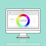 Conceito da amostra do espectro do projeto da amostra de folha CMYK da cor ilustração royalty free