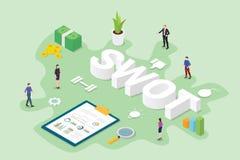 Conceito da análise de negócio do Swot com o escritório dos povos da equipe e dados com estilo isométrico moderno liso - vetor ilustração royalty free