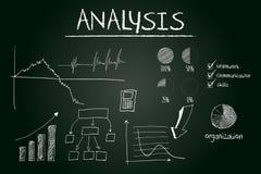 Conceito da análise esboçado no quadro-negro ilustração do vetor