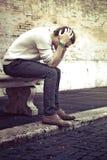 Conceito da ansiedade Homem novo com problemas, desespero Imagens de Stock Royalty Free