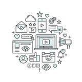 Conceito da aplicação dos multimédios, do mensageiro, do vídeo e do jogador de música, Widget social da rede, como, apreciação ilustração stock