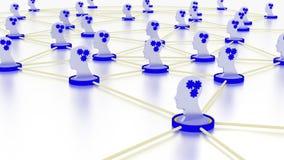 Conceito da aprendizagem de máquina da rede com símbolos principais ilustração royalty free