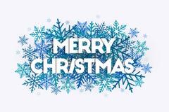 Conceito da arte da palavra do Feliz Natal com as letras que colocam em flocos de neve ilustração do vetor