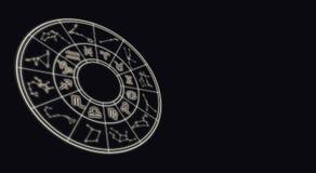 Conceito da astrologia e dos horóscopos O zodíaco astrológico assina dentro c fotografia de stock