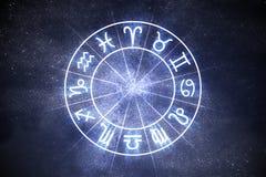 Conceito da astrologia e dos horóscopos O zodíaco astrológico assina dentro o círculo Imagens de Stock Royalty Free