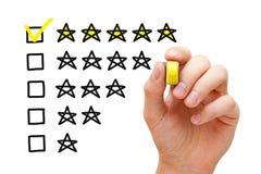 Conceito da avaliação de cinco estrelas Fotografia de Stock