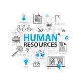 Conceito da bandeira da Web dos recursos humanos Linha grupo do esboço do ícone do negócio Equipe da estratégia da hora, trabalho ilustração stock