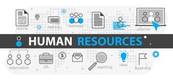 Conceito da bandeira da Web dos recursos humanos Linha grupo do esboço do ícone do negócio Equipe da estratégia da hora, trabalho ilustração do vetor