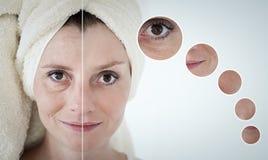 conceito da beleza - cuidados com a pele, procedimentos antienvelhecimento, rejuvenescimento, Imagens de Stock Royalty Free