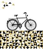 Conceito da bicicleta com fundo do ouro do moderno Imagens de Stock Royalty Free