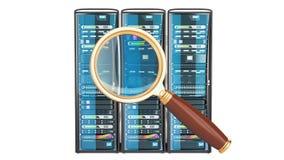 Conceito da busca dos dados Movimentação de disco rígido HDD com lente de aumento, rendição 3D isolada no fundo branco ilustração stock