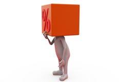 conceito da cabeça dos por cento do homem 3d Imagens de Stock