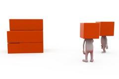 conceito da caixa da cabeça do homem 3d Fotografia de Stock Royalty Free
