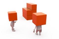 conceito da caixa da cabeça do homem 3d Fotos de Stock Royalty Free