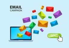 Conceito da campanha do Internet do email Fotografia de Stock