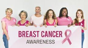 Conceito da caridade do apoio do câncer da mama das mulheres imagem de stock