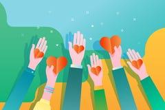 Conceito da caridade e da doação Dê e compartilhe de seu amor aos povos Mãos que prendem um símbolo do coração ilustração stock