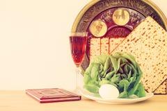 Conceito da celebração de Pesah & x28; holiday& judaico x29 da páscoa judaica; imagem de stock