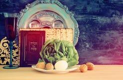 Conceito da celebração de Pesah & x28; holiday& judaico x29 da páscoa judaica; imagens de stock