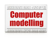 Conceito da ciência: modelagem do computador do título de jornal Fotografia de Stock