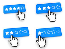 Conceito da classificação - botões da Web com cursor da mão Fotografia de Stock