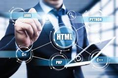 Conceito da codificação do desenvolvimento da Web da linguagem de programação do HTML Fotos de Stock Royalty Free