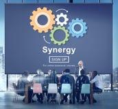 Conceito da colaboração dos trabalhos de equipa da sinergia melhor junto ilustração royalty free
