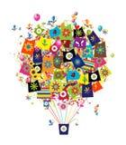 Conceito da compra, balão de ar com os sacos para o seu Foto de Stock