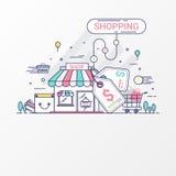 Conceito da compra Este grupo contém elementos, o preço, a loja, a loja, o saco de compras, o carro, a cesta, a moeda e o cartão  ilustração stock