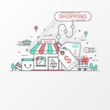 Conceito da compra Este grupo contém elementos, o preço, a loja, a loja, o saco de compras, o carro, a cesta, a moeda e o cartão  ilustração royalty free
