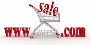 Conceito da compra nas sites do anúncio publicitário Fotos de Stock