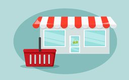Conceito da compra no fundo azul Entrence da loja com busket vermelho para a compra Fotos de Stock