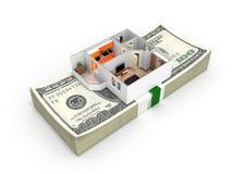 Conceito da compra ou do pagamento para abrigar a disposição do apartamento com uma pilha de notas de dólar do americano cem do d ilustração stock