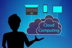 Conceito da computação da nuvem, da apresentação educacional e da leitura Imagens de Stock Royalty Free