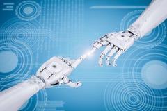 Conceito da conexão com apontar robótico da mão ilustração royalty free