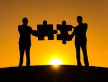 Conceito da conexão da cooperação do enigma do negócio Foto de Stock Royalty Free
