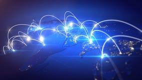 Conceito da conexão de negócio global Fotos de Stock Royalty Free