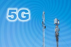 conceito da conexão de rede 5G Micro pilha 3G, 4G, phon do móbil 5G Foto de Stock Royalty Free