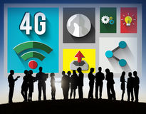 conceito da conexão de uma comunicação do Internet da tecnologia 4G Imagem de Stock