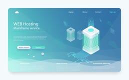 Conceito da conexão do datacenter do Internet Servidor de acolhimento isométrico, administrador do alojamento web ilustração do vetor