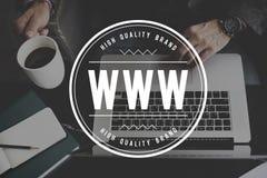 Conceito da conexão dos meios do Internet do Web site da Web de WWW Fotografia de Stock Royalty Free