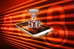 conceito da conexão a Internet 5G no fundo digital 3d rendem Ilustração Royalty Free
