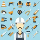 Conceito da construção com ícones e o construtor lisos Imagem de Stock Royalty Free