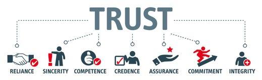 Conceito da construção da confiança Bandeira com palavras-chaves e illustra ilustração do vetor