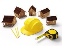Conceito da construção Outras casas de campo com ferramentas da construção Fotos de Stock Royalty Free