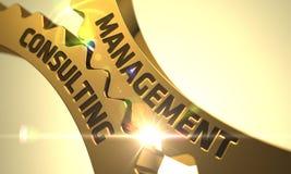 Conceito da consultoria de gestão Engrenagens metálicas douradas 3d Fotos de Stock Royalty Free