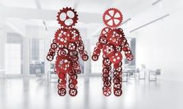 Conceito da cooperação ou talvez família com as duas figuras presenti Imagens de Stock